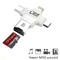 MULTI 4 in 1 OTG CARD READER : LIGHTNING IPHONE, TYPE C, MICRO USB AND USB