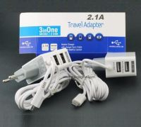 TRAVEL CHARGER 2.1A WITH DUAL USB PORT - di gambar ada dua model jek micro usb