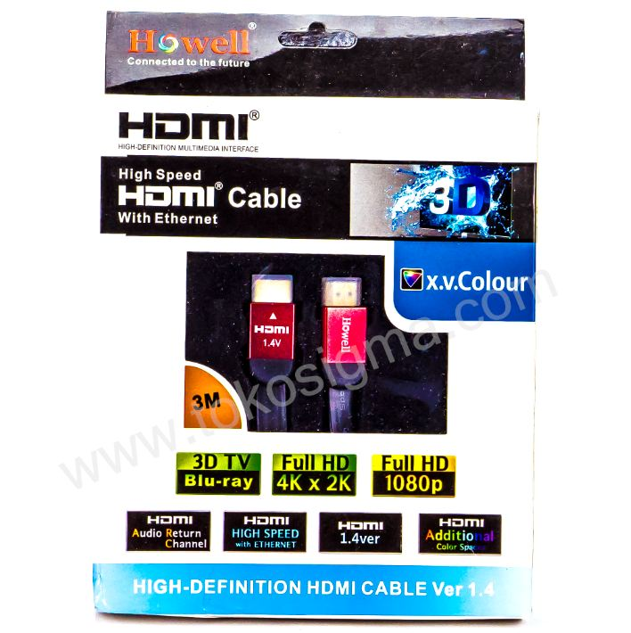 KABEL HDMI 3 Meter ver 1.4 Male - Male Flat HOWELL